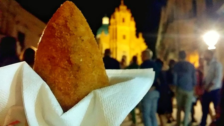Night Outdoors People Streetfood Food Sicily Ibla Arancino Traditional Riso Cibo Sicilia Ragusa Ibla, Sicily