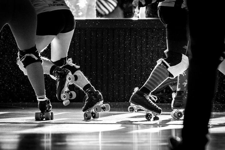 Blackandwhite Indoor Photography Indoor Sports Indoors  Low Section Rollerderby Rollergirl Rollerskates Rollerskating Skill  Sport