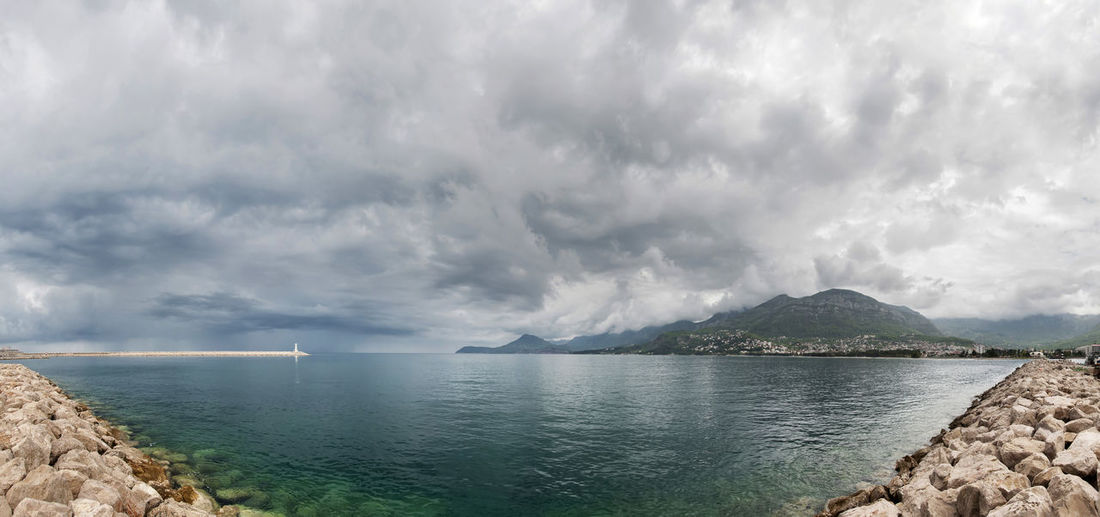 Seascape Water Cloud - Sky Scenics - Nature Sky Beauty In Nature Tranquil Scene Sea Tranquility Nature Idyllic Mountain No People Day Non-urban Scene Outdoors Overcast Turquoise Colored Montenegro Mediterranean Sea