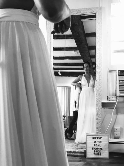 My sister trying on her wedding dress for the first time! Blackandwhite Wedding Dress Sister