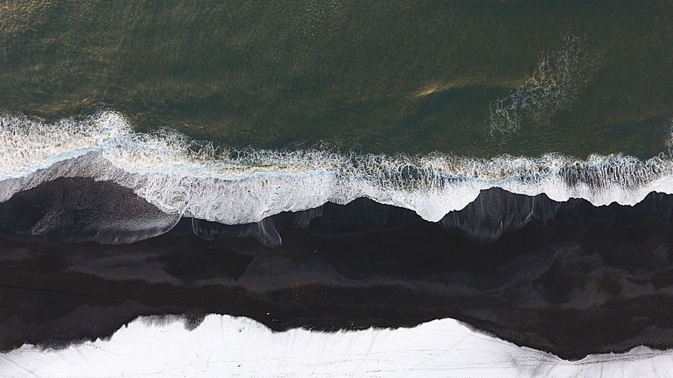 Snow (Black)Beach And Sea Travel Surf Special Trip Mother Nature Ice Iceland Cold Sand Universe Megapixel Universe Megapixel Above Combi Blacksand Dji Drone  Nature No People Beauty In Nature Mountain Outdoors Winter Landscape Beach Snow Wave Day Power In Nature Water