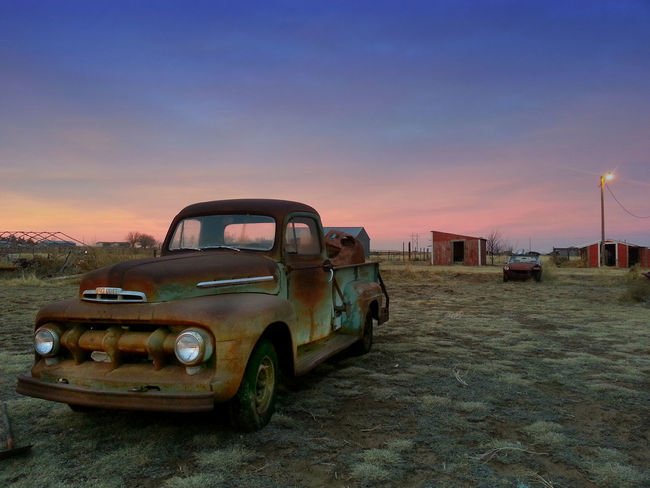 The Old Farm Truck Abandoned Car Classic Cars Cloud - Sky Day Dusk Land Vehicle Mode Of Transport Nature No People Obsolete Old-fashioned Outdoors Pick-up Truck Scenics Sky Stationary Sunset Transportation