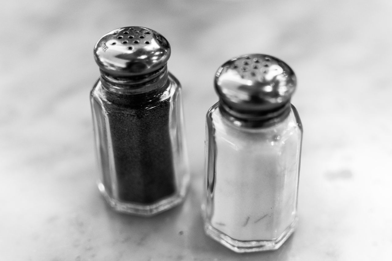 Close-up of salt and pepper shakers