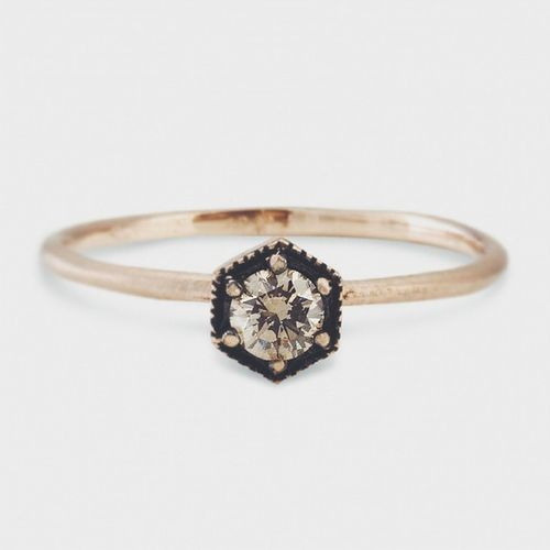 That little hexagon ring with a brown diamond...love at first sight ✨ From Satomikawakita