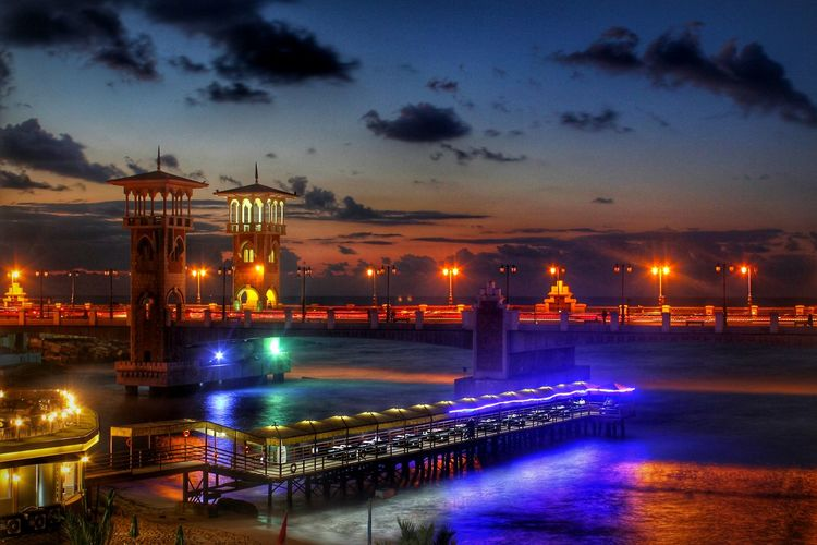 Beauty of Alexandria 💙 Alexandria Alexandriaeveryday Egypteveryday Beauty In Nature Night Illuminated Water Travel Destinations Cloud - Sky Architecture Vacations Beauty In Nature Bridge - Man Made Structure Sky Cityscape No People Outdoors The City Light
