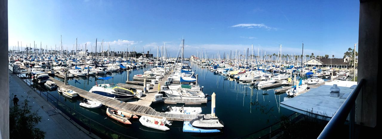 Moored Nautical Vessel Harbor Marina Boat Sky Outdoors Water Pier Mode Of Transport Transportation Sea Day Jetty Large Group Of Objects No People Commercial Dock Blue Mast Sailboat Redondobeach Hotel View Harbor View Harbor