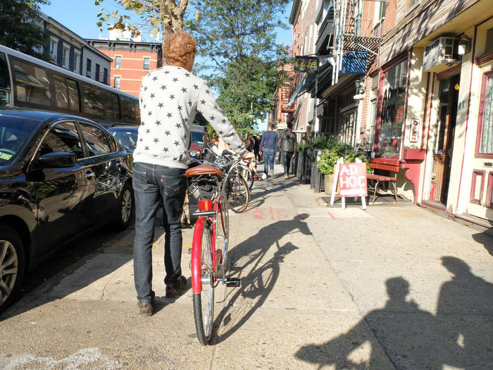 Architecture Bicycle Building Exterior Built Structure Car City Day Full Length Land Vehicle Lifestyles Mode Of Transport New York By Bike One Person Outdoors People Real People Senior Adult Shadow Stationary Sunlight Transportation