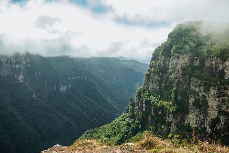 Fortaleza canyon with steep rocky cliffs covered by forest and fog near cambara do sul, brazil.