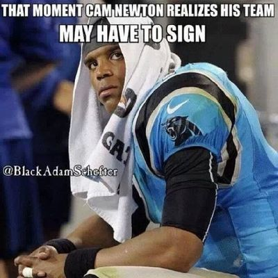 That moment Cam Newton realizes that his team may have to sign the play60 kid