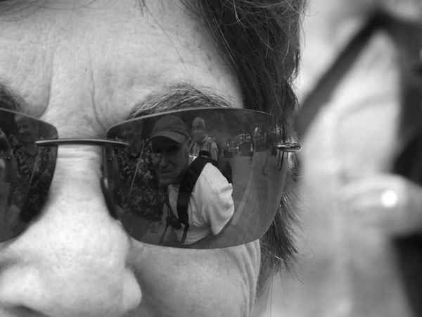 Monochrome Photography Headshot Looking At Camera Focus On Foreground Close-up Portrait Lifestyles Sunglasses Senior Adult Outdoors Reflection Photography Woman Man Eye4photography  EyeEm Best Shots - Black + White Eyee The Purist (no Edit, No Filter) The