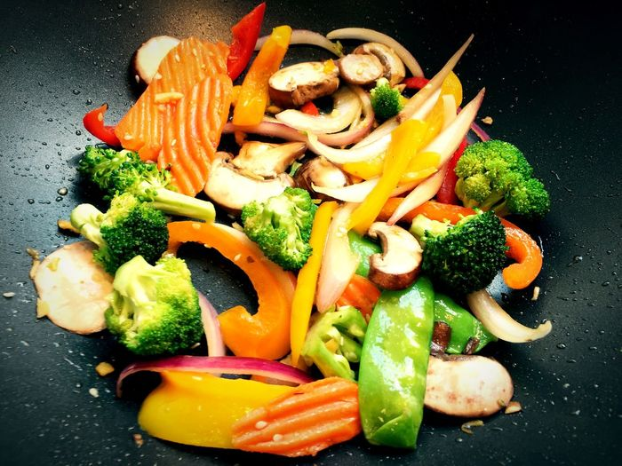 High Angle View Of Fresh Vegetables In Saucepan