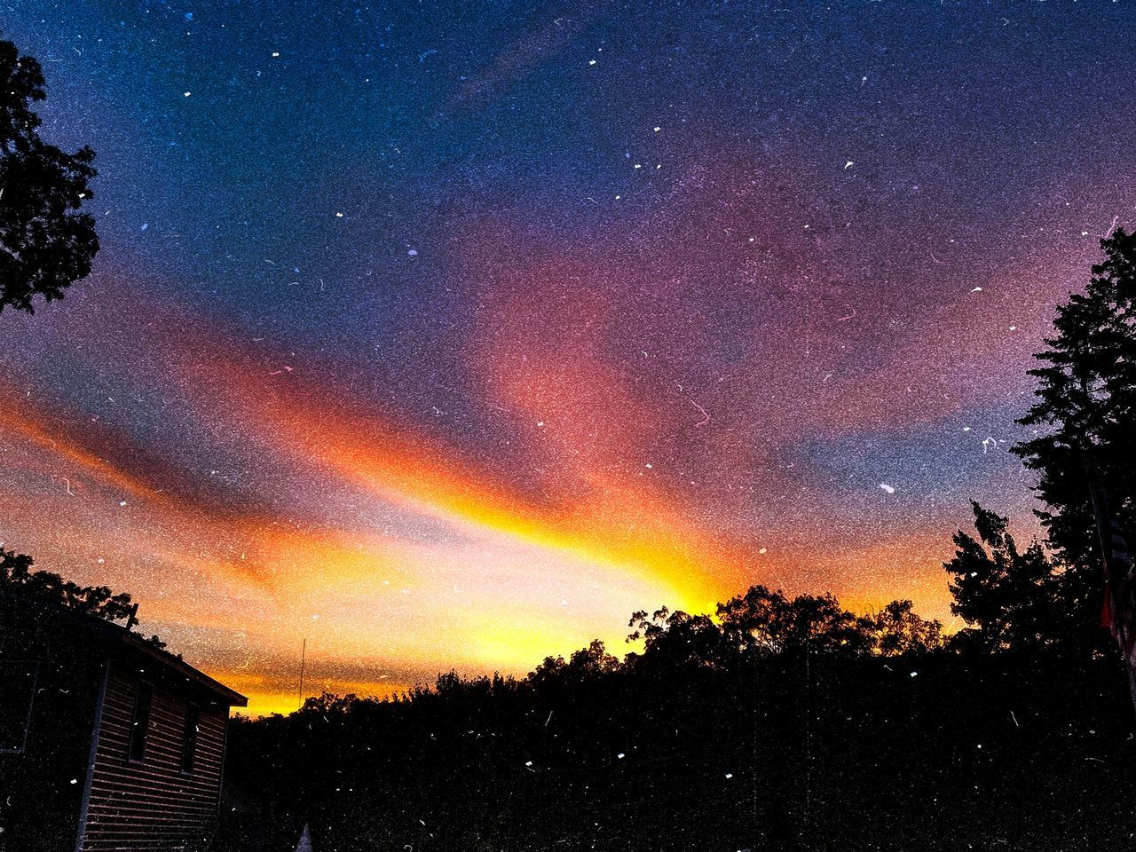 sky, beauty in nature, scenics - nature, tree, plant, no people, star - space, silhouette, tranquility, night, nature, architecture, space, tranquil scene, idyllic, astronomy, star, cloud - sky, building exterior, built structure, outdoors
