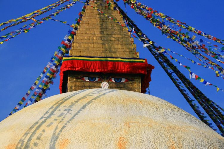 Architecture Blue Bodnath Buddhism Building Exterior Clear Sky Cultures Day Low Angle View Multi Colored Nepal Place Of Worship Religion Sky Spirituality Stupa Temple - Building Tradition Traditional Travel First Eyeem Photo