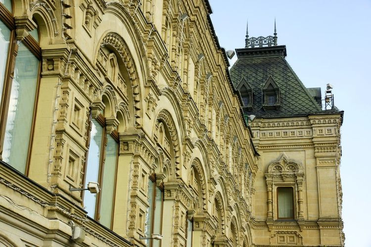 Moscow GUM Facade Decoration Architectural Detail Architectural Style Architecture Building Exterior Built Structure City Day Eclectic History Low Angle View No People Ornate Outdoors Religion Sculpture Sky Statue