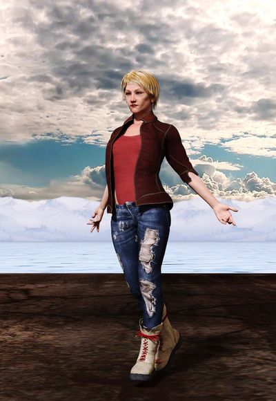 Blond Hair Real People One Person Standing Young Women Front View Young Adult Nature Day Sky Full Length Casual Clothing Portrait 3D