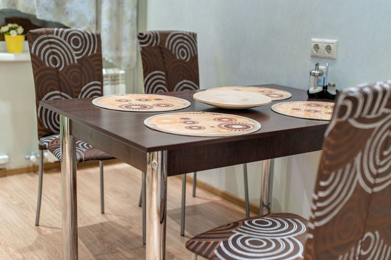 Table Food And Drink Food Seat Indoors  Chair No People Absence Furniture Freshness Home Interior Wood - Material Pattern Home Plate Focus On Foreground Still Life Flooring Domestic Room Empty Temptation Floral Pattern Setting