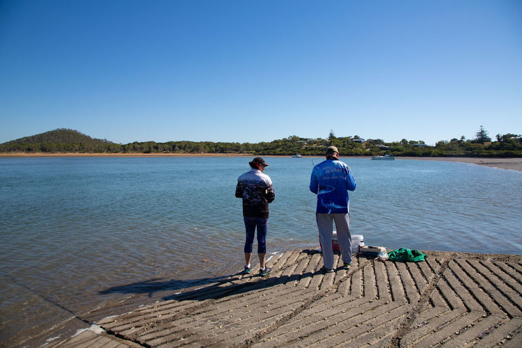 Rear view of men on lake against clear blue sky