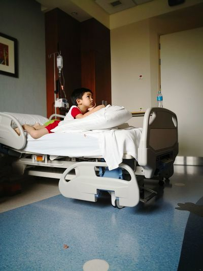 Hospital Bed Boy In Hospital Hospitalized Warded Unwell EyeEm Selects Full Length Bed Pillow