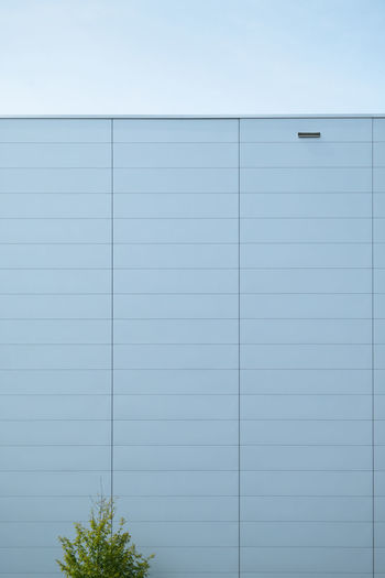 Details of gray facade made of aluminum panels on industrial building with green bush in front EyeEmNewHere Façade Plant Aluminum Architecture Blue Building Building Exterior Built Structure Business Clear Sky Contemporary Copy Space Day Modern No People Pattern Plant Sky Wall - Building Feature Warehouse