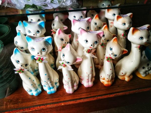 Cats. Doll China Cat No People Close-up Indoors  High Angle View Variation Day Large Group Of Objects