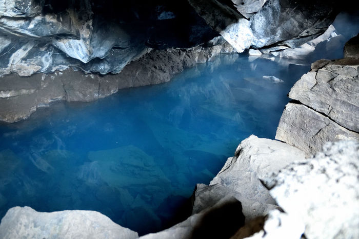 Geothermal Area Grotagja Iceland Underground Beauty In Nature Cave Cold Temperature Game Of Thrones Location Geology Geothermal Spa Hot Spring Water Jon Snow And Ygritte Cave Nature No People Physical Geography Rock Formation Scenics Spelunking Tranquil Scene Tranquility Water Winter