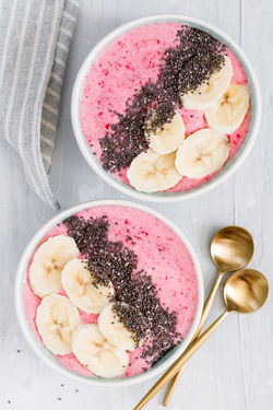 Banana Berry Fruit Bowl Close-up Dairy Product Directly Above Eating Utensil Food Food And Drink Freshness Fruit Healthy Eating High Angle View Indoors  Kitchen Utensil No People Ready-to-eat Spoon Table Temptation Wellbeing Yogurt