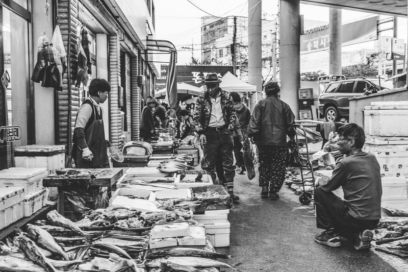 Adult Black And White Blackandwhite City Day Large Group Of People Market Men Outdoors People Real People South Korea Women Streetphotography