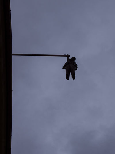Art Freud Contemporary Art Prague Czech Republic Trip Journey Travel Low Angle View Sky Cloud - Sky Nature Full Length Day Silhouette Rope Outdoors Motion Men Hanging Mid-air Dusk Real People Skill  Directly Below