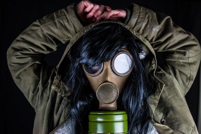 Black Background Flame Pyro Woman Gas Mask Jacket Mask Portrait Studio Shot