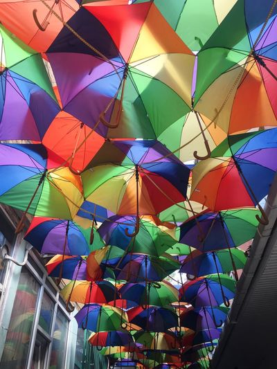 Multi Colored Pattern Full Frame No People Indoors  Decoration Low Angle View Umbrella Art And Craft Hanging Creativity