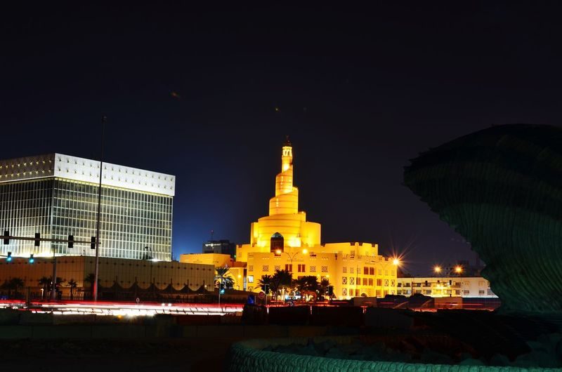 Night In Qatar Night Architecture Illuminated Building Exterior Built Structure Travel Destinations Sky City Statue Outdoors No People Tree Sculpture Islamic