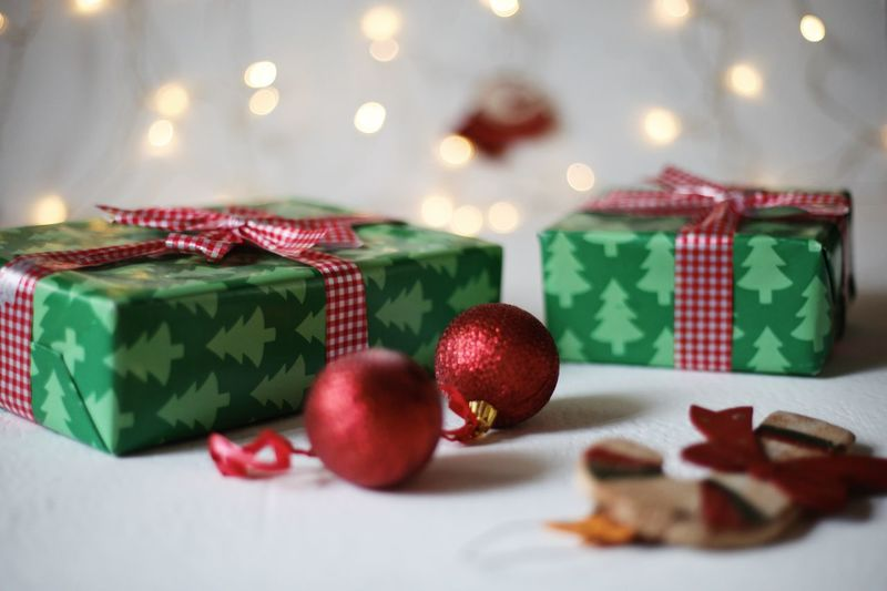 Close-up of christmas decoration on table