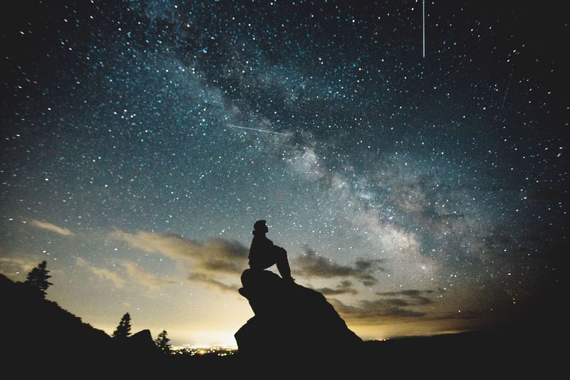 Perseid Meteor Shower Star - Space Night Sky Astronomy Beauty In Nature Milky Way Galaxy Nature One Person Silhouette Star Field Low Angle View Scenics Space Outdoors Men Adults Only One Man Only Constellation Adult