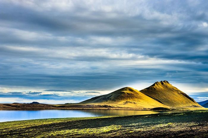 Lights and shadows on a morning after rainy night in the highlands. Landmannalaugar Iceland Stop Global Warming Water Sky Cloud - Sky Scenics - Nature Tranquil Scene Mountain Beauty In Nature Non-urban Scene No People Landscape Nature