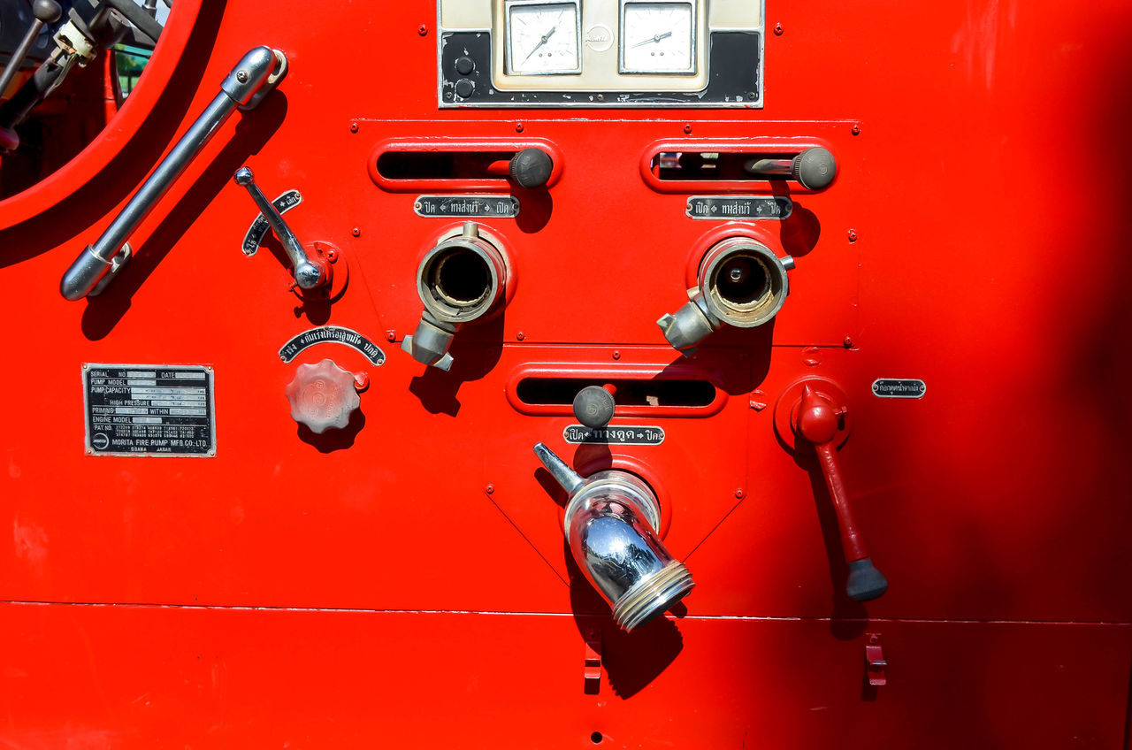 red, fire engine, control, no people, close-up, control panel, technology, day, indoors