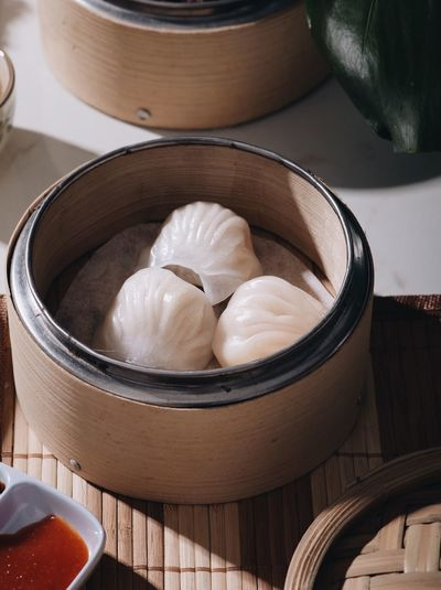 High angel view of dumplings in container on table