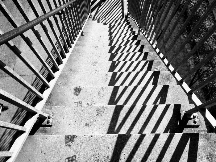 Pattern Outdoors Day High Angle View Road No People Stairs Blackandwhite Blackandwhitephotography Sun Industrial Trainstation