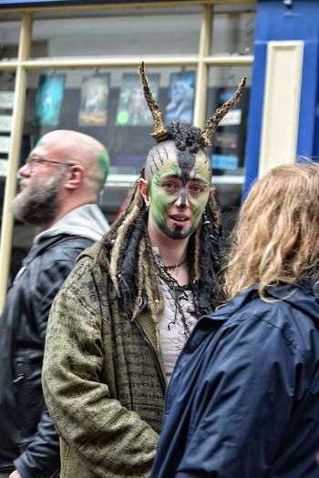 Jack In The Green Festival Jack In The Green Hastings East Sussex May Day 2017 Friendship Young Adult Carnival Crowds And Details May Day Street Celebration Performing Arts Event Pagan Parade Pagan Festival Carnival Spirit Headdress Arts Culture And Entertainment Horns Disguise Close-up Cultures Devil May Day