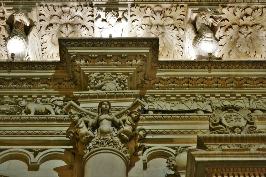 Arch Architectural Feature Architecture Art Art And Craft Barocco Barocco Architecture BaroccoSiciliano Building Exterior Built Structure Carving Creativity Day Design Entrance Façade Full Frame History Lecce Low Angle View Ornate Stone The Past