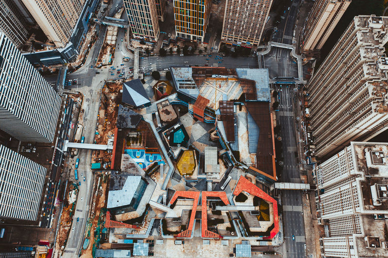 Directly above shot of machine in city