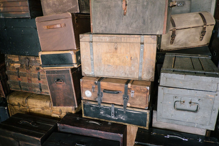 Stack Container Wood - Material No People Indoors  Old Day Box Metal Box - Container Nature High Angle View Large Group Of Objects Close-up Transportation Luggage Domestic Room Still Life Suitcase Baggage
