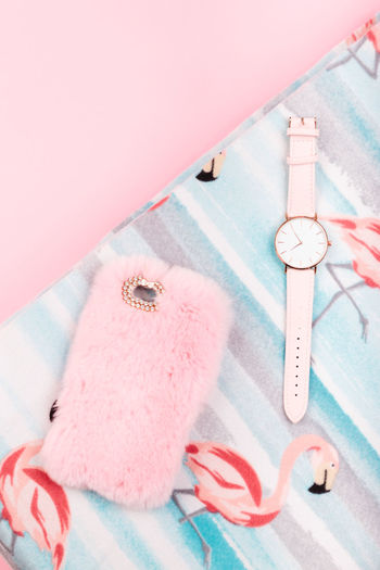 Female pink dress, mobile phone in pink case, watch with pink stripe on pink background Clothes Summer Summertime Casual Clothing Fashion Girlish Lifestyle Original Style Top View Watch Female Pink Color Bright Dress Case Mobile Phone Stylish Copy Space Copyspace