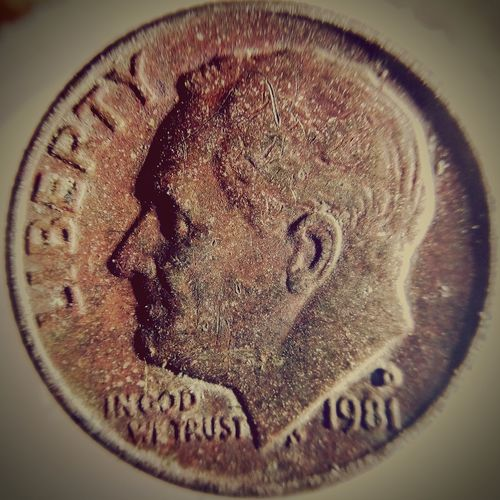 Extremely Rare Find Dual Missing Clad On 1981d Roosevelt Dime . Heads Side. Will Post Tails Side Next. Collectible Coin Collectible Color Error Die Error Error Coin EyeEm Selects Copper  U.s. Currency Extremely Rare Missing Clad Dual Missing Clad 1981 D Dime Directly Above Close-up 10