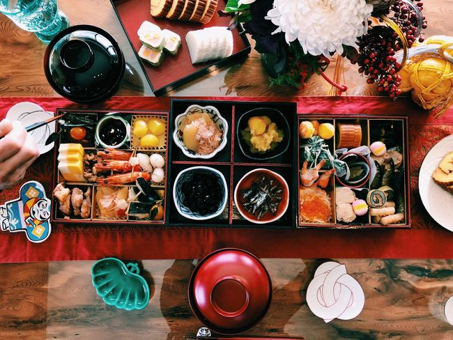 Happy new year! Japanese  Japanese Style Japanese Food Japanese Culture Osechi Happy New Year Table Plate Food Food And Drink Directly Above Chopsticks Seafood Ready-to-eat Healthy Eating Meal Indoors