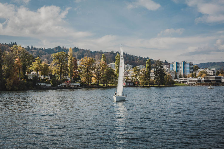 Water Waterfront Sky Architecture Cloud - Sky Built Structure Nature Building Exterior Day No People Scenics - Nature Outdoors Beauty In Nature Nautical Vessel City Sailboat Lake Lake View Sailing Holiday Switzerland