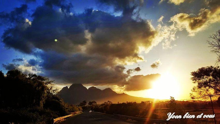 ile de la réunion Reunion  Voyage Trip View #sunset Vacations Iledelareunion Sunset Yvonbien #yvonbien Dramatic Sky Sunset Cloud - Sky Tree Mountain Sunlight Sky Outdoors Landscape Nature Beauty In Nature Scenics