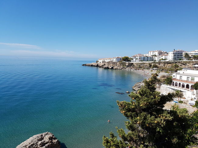 Water Blue Sea Horizon Over Water Scenics Sky Tranquil Scene Tranquility Beauty In Nature Remote No People Shore Beach Holiday Nerja Spain Nerja Andalucia Coastline Beach Nerja Coast