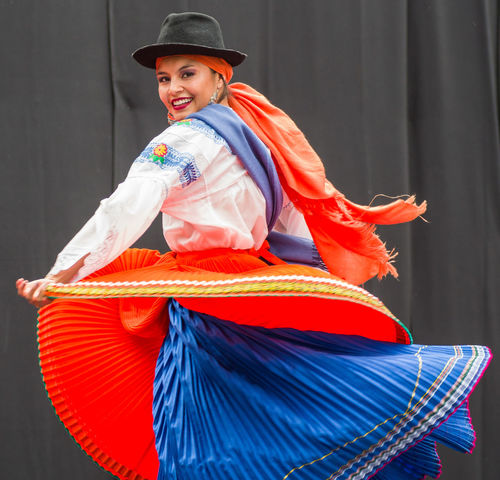 Smiling Happiness Well-dressed Westerlo Looking At Camera Dancefest Slovenia Dancers Traditional Clothing Young Women Well Dressed Front View Ecuador Festive