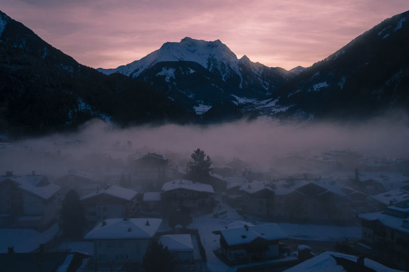 Austria Mountain Sky Cold Temperature Snow Scenics - Nature Beauty In Nature Winter Mountain Range Building Exterior Cloud - Sky Sunset No People Nature Built Structure Building Snowcapped Mountain Tranquil Scene Tranquility Mountain Peak Neighborhood