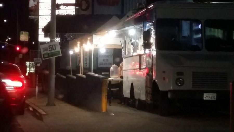 Food Trucks Hollywood Eating No People Lights In The Dark Outside Food Sunset Blvd Metal Industry Riot
